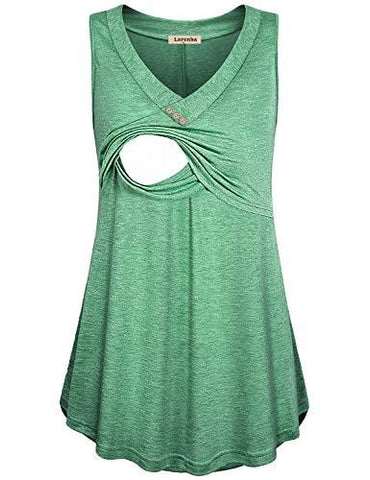 Green Loose Fit Nursing Tank Top