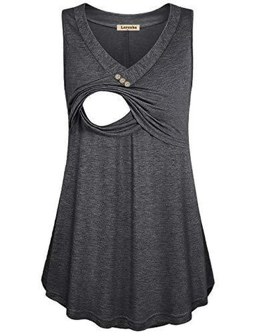 Grey Loose Fit Nursing Tank Top