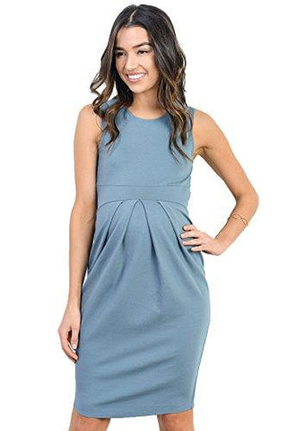 Image of Turquoise Knee Length Midi Maternity Dress with Front Pleat