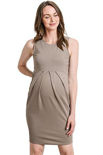 Mocha Knee Length Midi Maternity Dress with Front Pleat