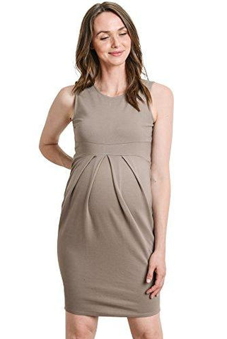 Image of Mocha Knee Length Midi Maternity Dress with Front Pleat