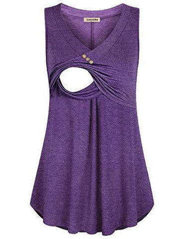 Image of Purple Loose Fit Nursing Tank Top