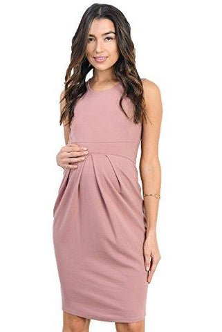 Image of Mauve Knee Length Midi Maternity Dress with Front Pleat