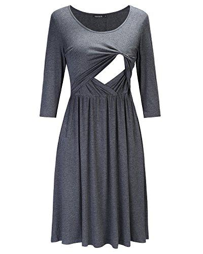 Grey Empire Waist Ruffled Nursing Dress