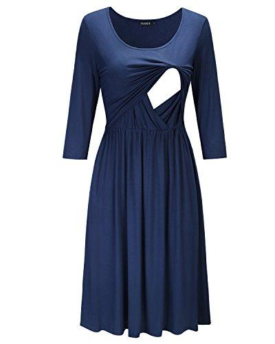 Navy Empire Waist Ruffled Nursing Dress