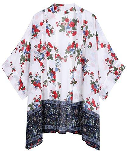 White Floral Sheer Loose Chiffon Swimsuit Coverup