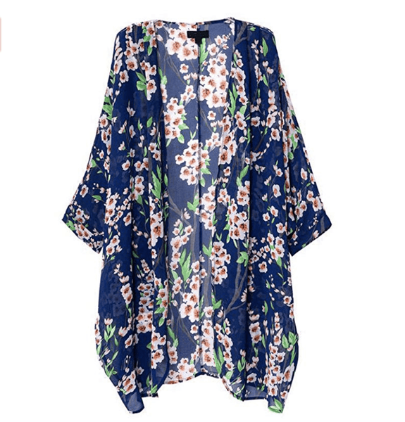 Blue Floral Sheer Loose Chiffon Swimsuit Coverup