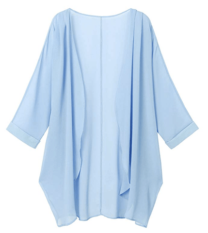 Sky Blue Sheer Loose Chiffon Swimsuit Coverup