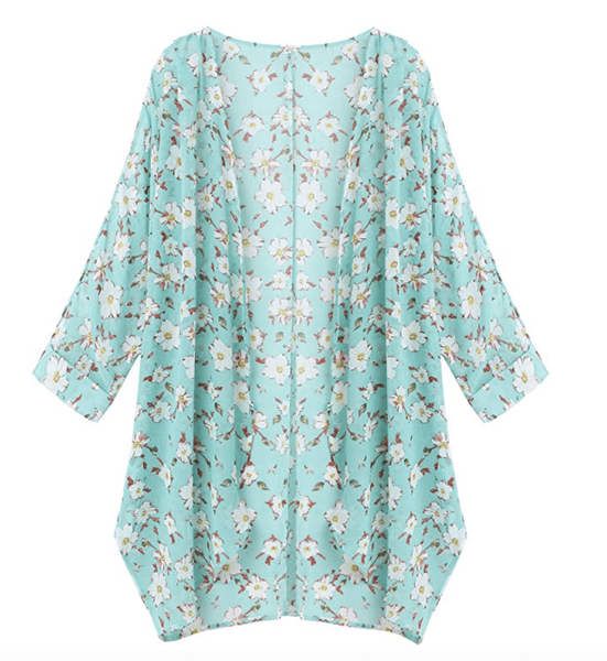 Light Blue Floral Sheer Loose Chiffon Swimsuit Coverup