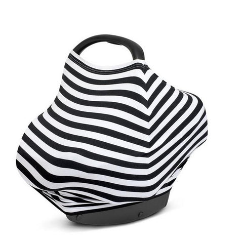 Stripped Baby Car Seat Canopy & Breastfeeding Cover Scarf