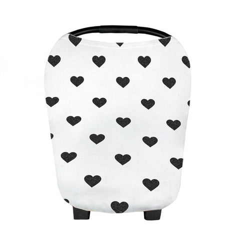 Black and white hearts Baby Car Seat Canopy & Breastfeeding Cover Scarf