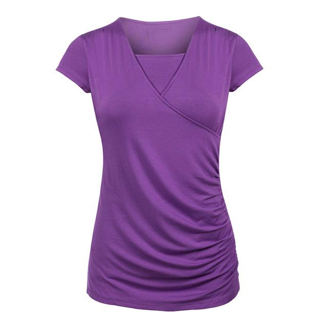 Classic Maternity and Breastfeeding Wrap Top - Purple / S / United States - Purple / M / United States - Purple / L / United States - Purple / XL / United States - Purple / XXL / United States