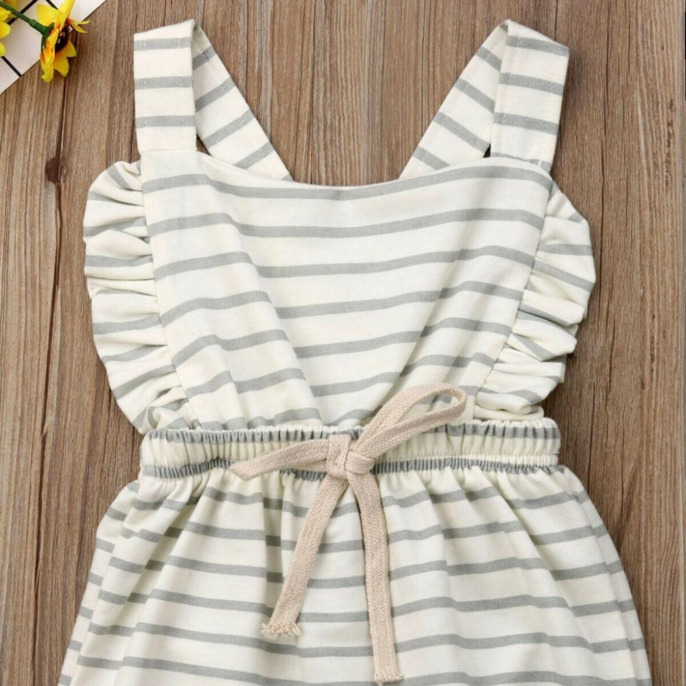 Striped Ruffle Romper Overalls