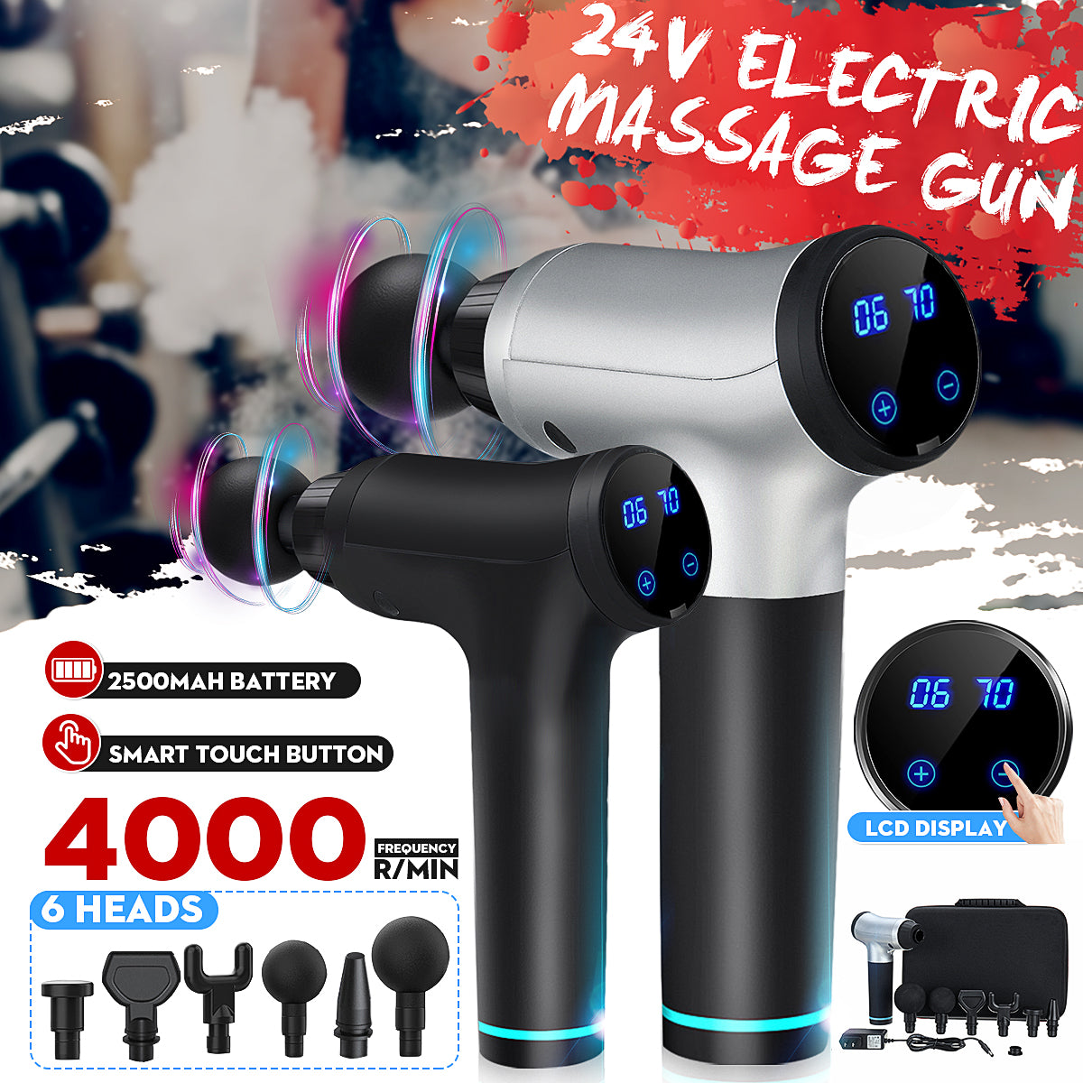 SelfCareX™ Massage Gun Deep Tissue Electric Massager With 6 Head