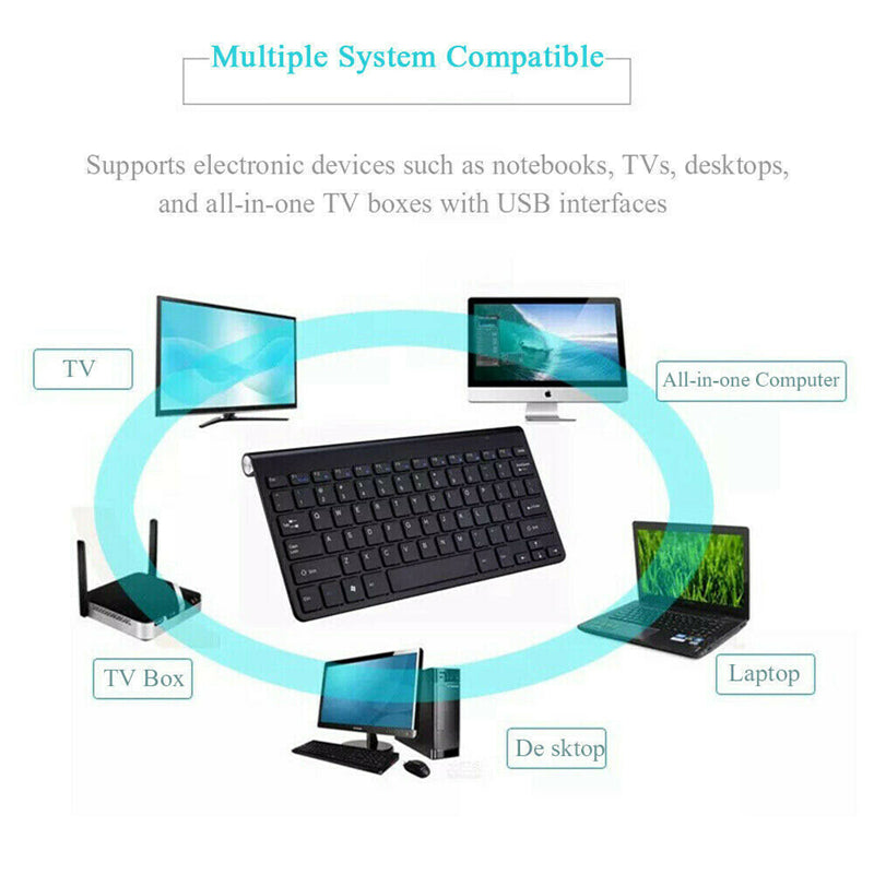 SmartHome™ Wireless Keyboard Mouse for PC Computer with USB Receiver