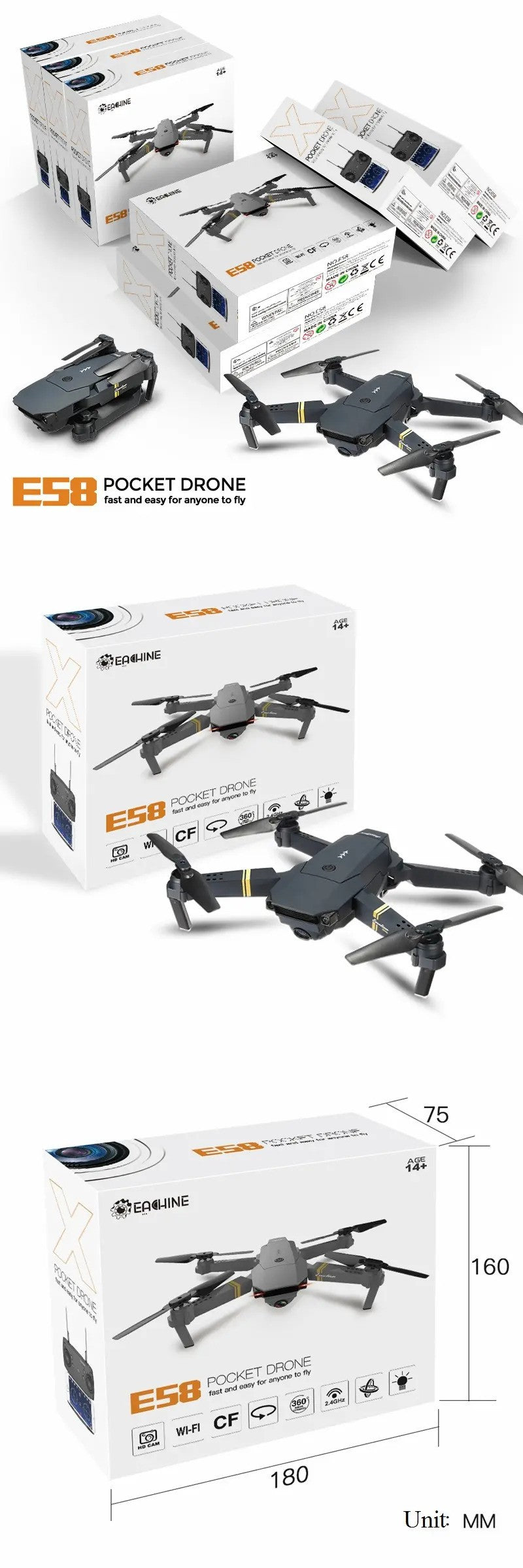 E50  POCKET DRONE fast and easy for anyone to fly