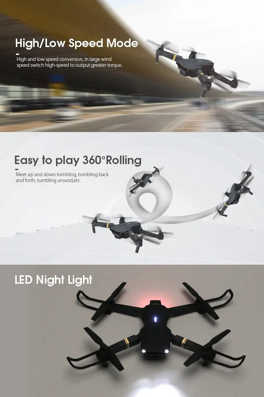 High/Low Speed Mode , Easy to play 360°  Rolling, LED Night Light