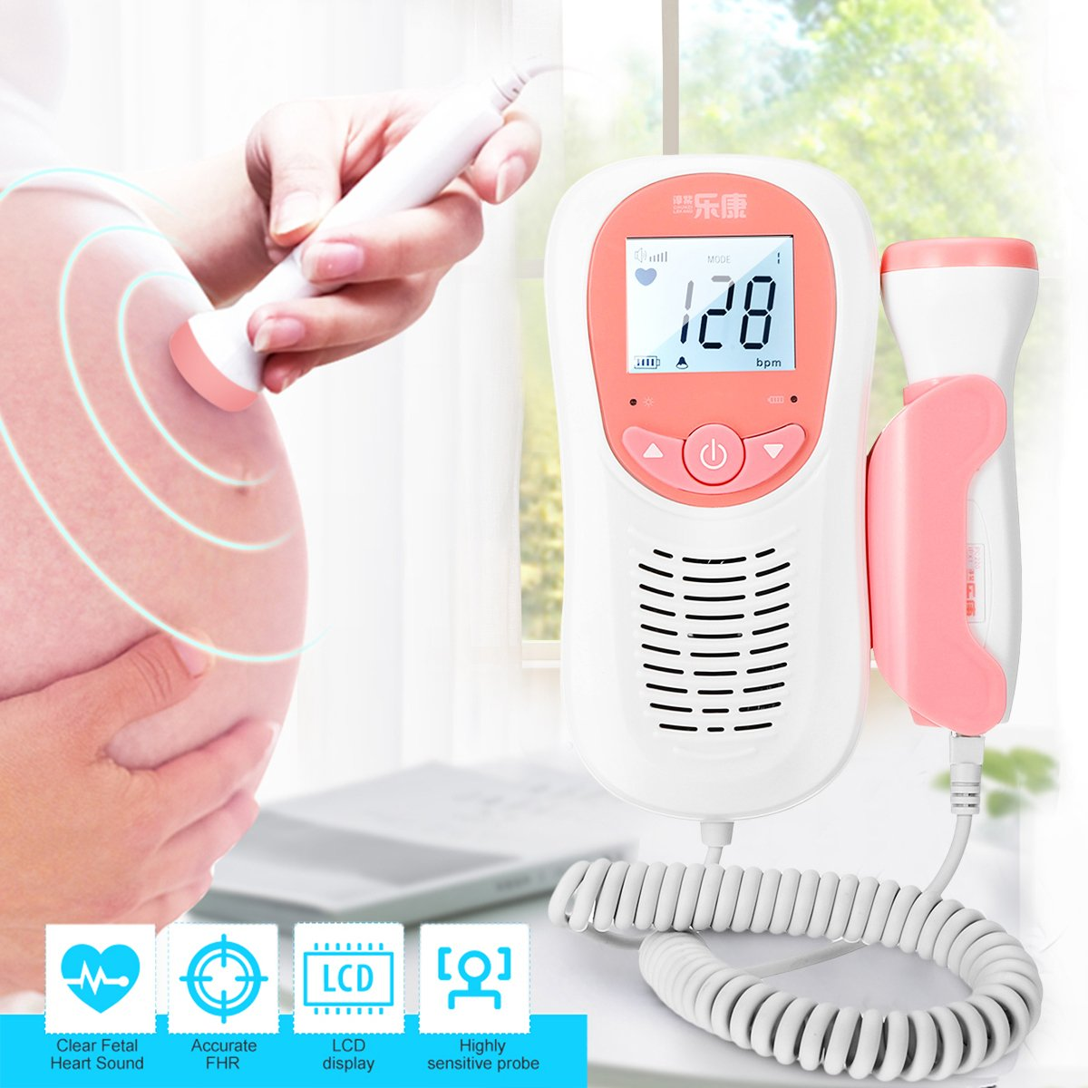 SelfCareX™ Portable Fetal Doppler Baby Heartbeat Monitor Radiation-free with LED Display