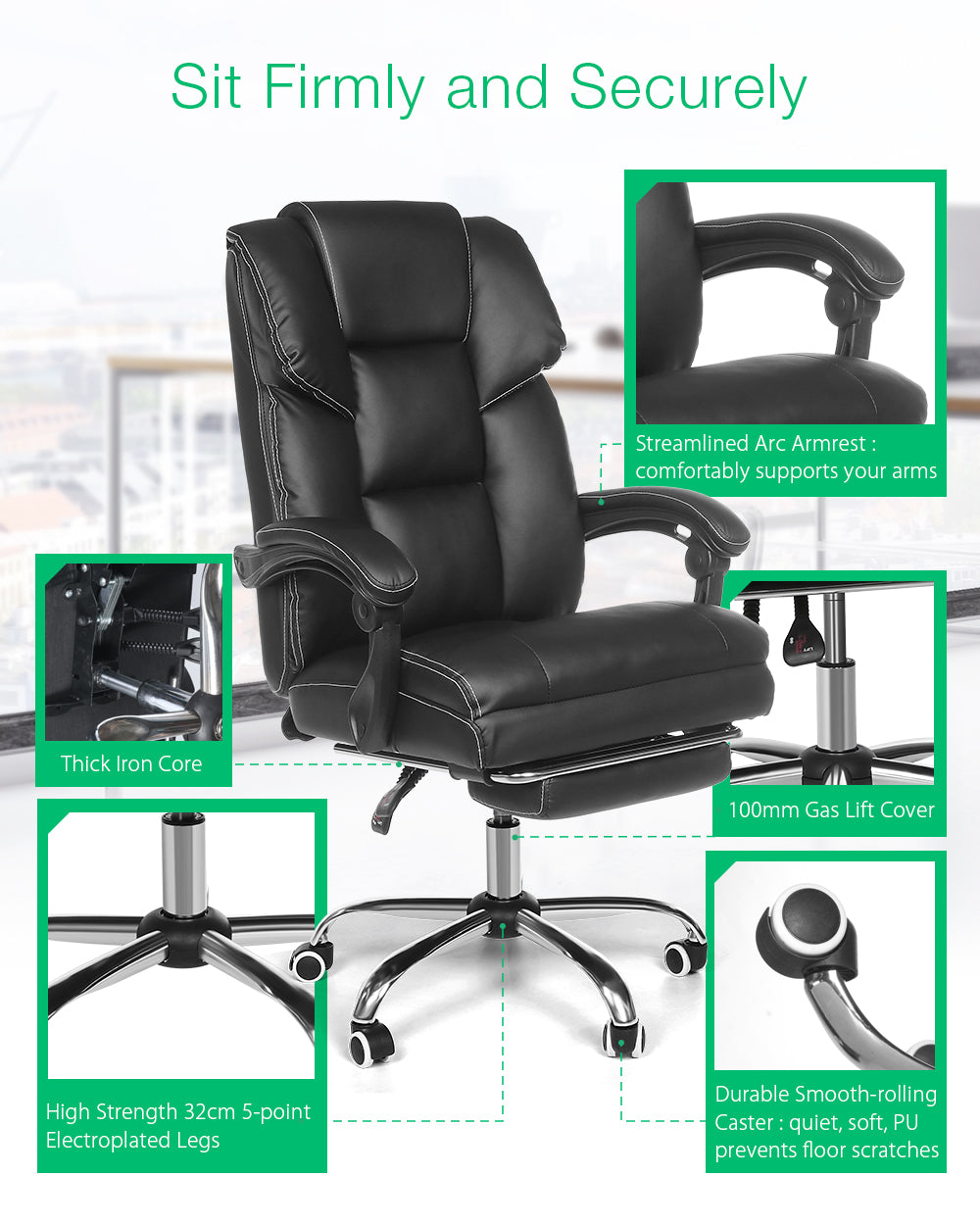 BlitzWolf® Office Chair with Footrest Ergonomic Design Reclining PU Material