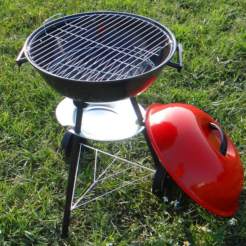 SmartHome™ Portable Red Kettle Trolley BBQ Grill Charcoal Wood Barbecue