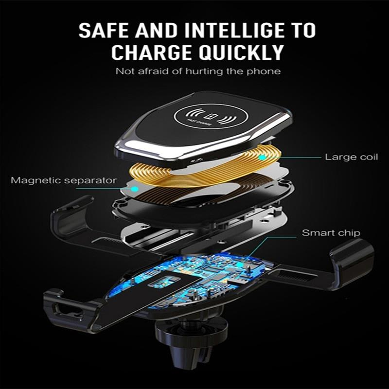 LOVEIT™ 10W Qi Wireless Fast Charger Car Phone Holder Automatic Clamping