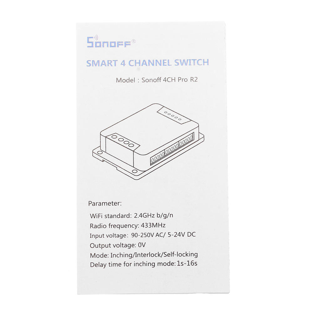 SONOFF® 4CH Pro R2 WIFI Wireless Smart Switch Module
