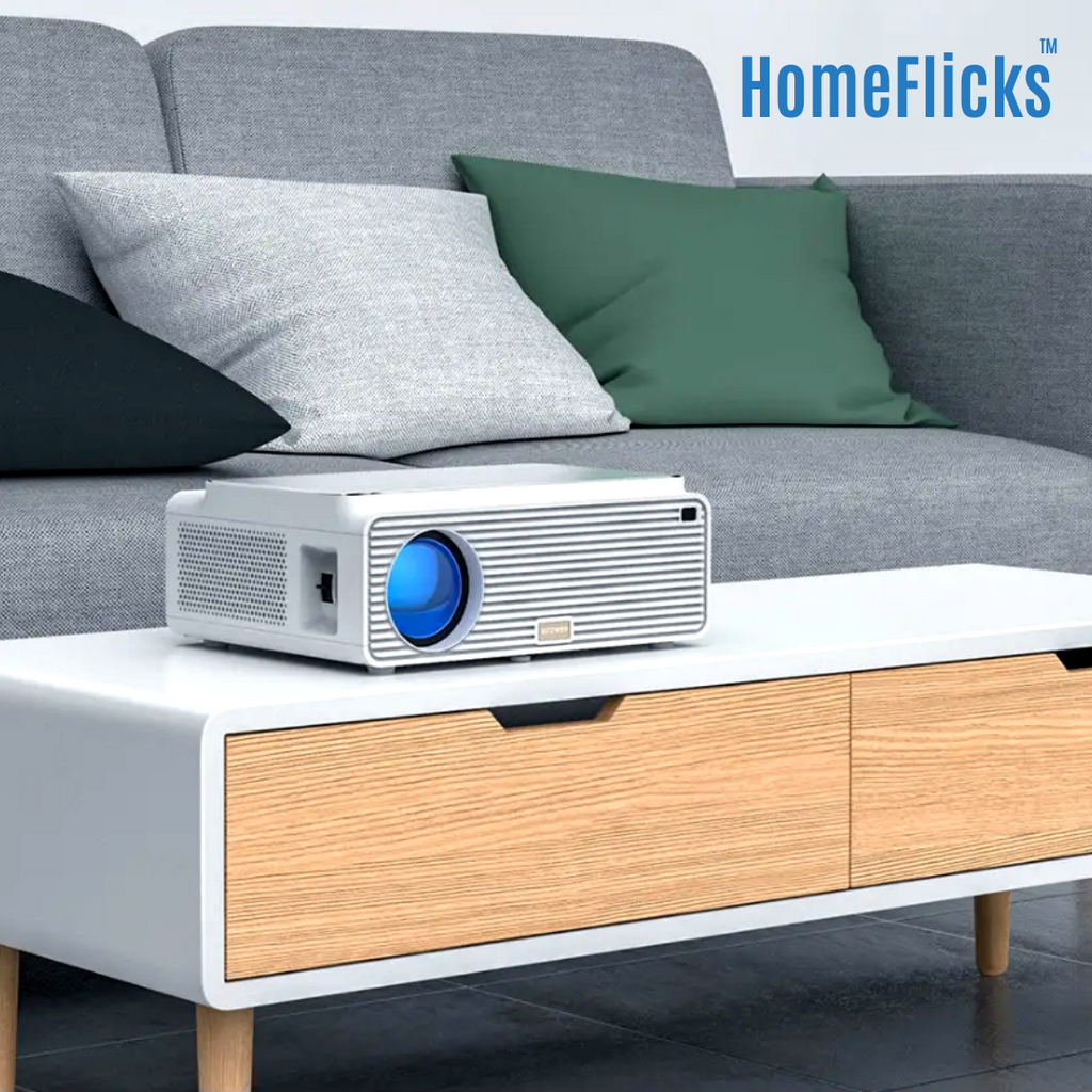 HomeFlicks™ Mini Home Cinema Projector 6500 Lumens 4K Version 16GB