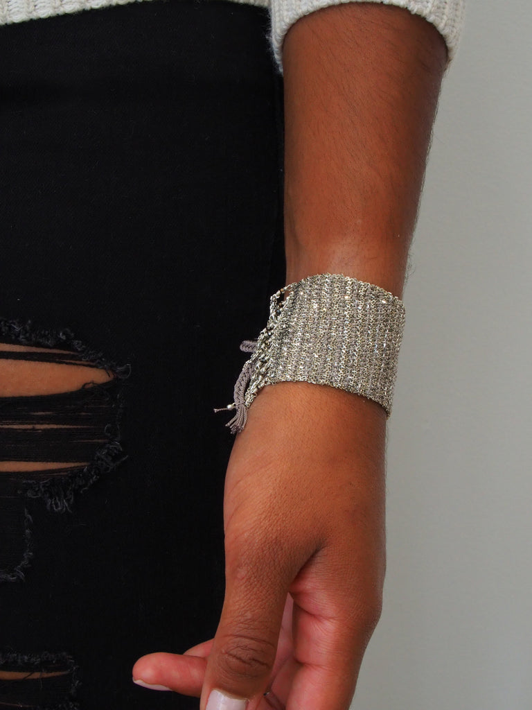 Silver Woven Bracelet with Crystal Fringe Edge MLS476