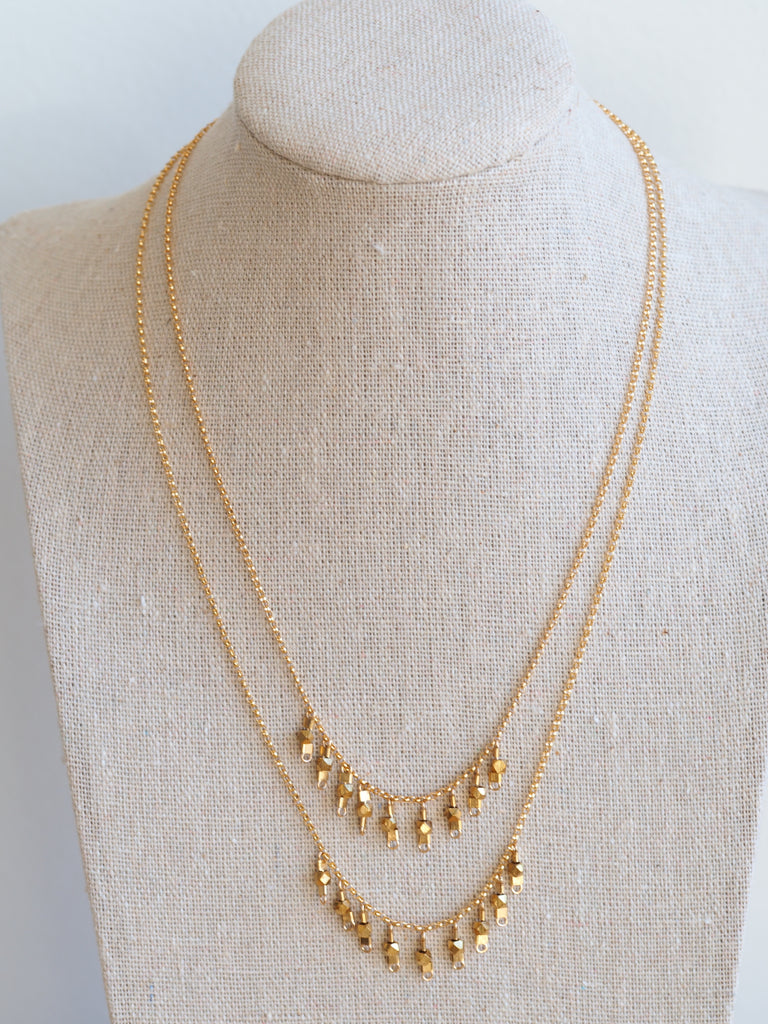 Drop Necklace, Gold/Brass, 16""