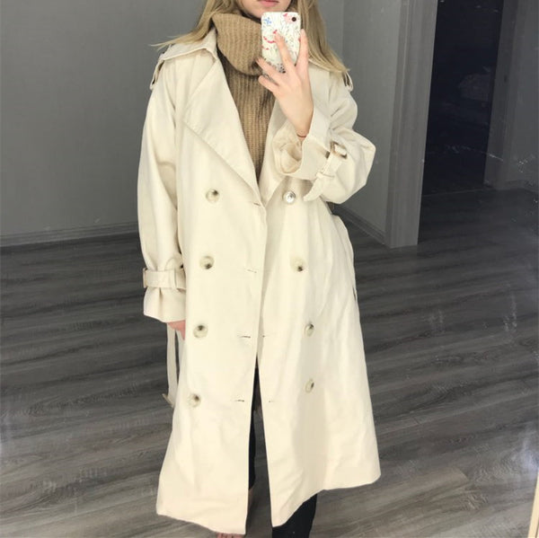 Women's Double-Breasted Cotton Trench Coat With Belt Classical Lapel Collar Loose Long Windbreaker Female Spring Chic Outerwear