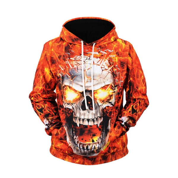 Hoodie 2019 New Style Fire Skull Printed Men's Sweatshirts & Hoodies Large Size  Coat Autumn And Winter Sweater Fashion