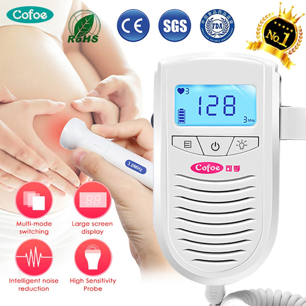 Cofoe Fetal Doppler Ultrasound Baby Heartbeat Detector Home Pregnant Doppler Baby Heart Rate Monitor Pocket Doppler monitor 3.0M
