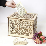 New DIY Wedding Gift Card Box Wooden Money Box with Lock Beautiful Wedding Decoration Birthday Party Supplies