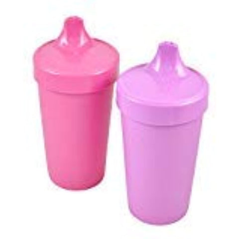Re-Play Made in The USA 2pk Toddler Feeding No Spill Sippy Cups for Baby, Toddler, and Child Feeding - Bright Pink, Purple - Bee Bee Shopping USA