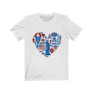 American Heart T-Shirt July 4th - Bee Bee Shopping USA
