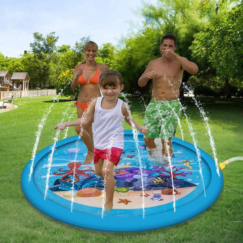 "Image of Water Play Mat 68"" Sprinkler Splash Inflatable Water Fun Mat - Bee Bee Shopping USA"