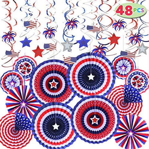 Image of 48 Pcs Patriotic Party Supplies of 12 Paper Fan, 36 Swirl Streamers for 4th of July, Independence Day Party Favor Indoor/Outdoor Decoration - Bee Bee Shopping USA