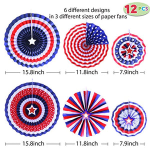 48 Pcs Patriotic Party Supplies of 12 Paper Fan, 36 Swirl Streamers for 4th of July, Independence Day Party Favor Indoor/Outdoor Decoration - Bee Bee Shopping USA