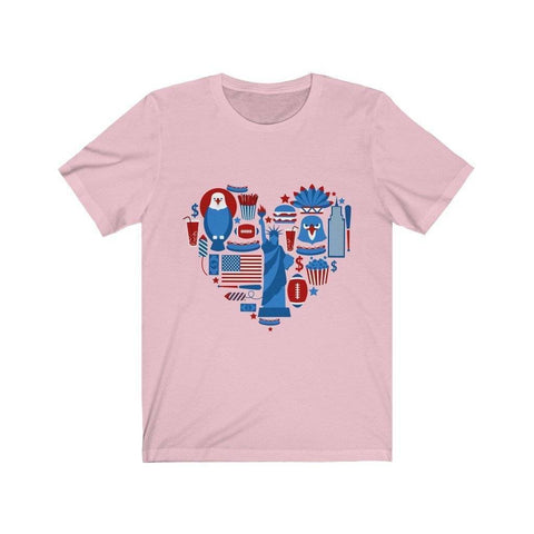 Image of American Heart T-Shirt July 4th - Bee Bee Shopping USA