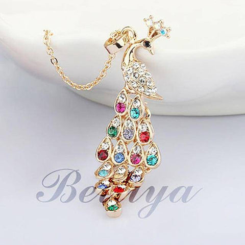 Fashion Jewelry Peacock Long Necklace Pendant Link - Bee Bee Shopping USA
