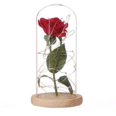 Image of Enchanted Rose Glass LED Lighted Home Decor Gift - Bee Bee Shopping USA