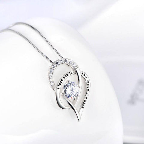 I Love You To The Moon And Back Swarovski Necklace in Silver - Bee Bee Shopping USA