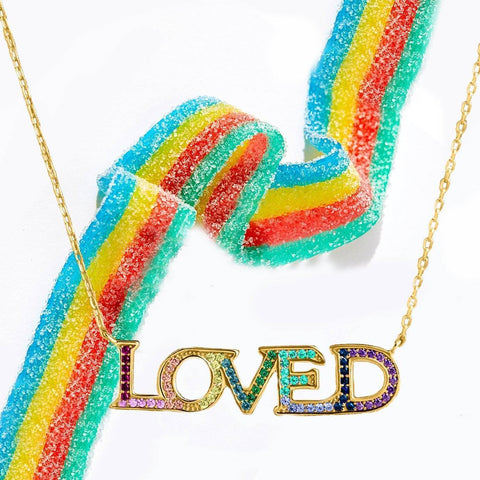 18K Gold Plated Rainbow Swarovski Elements Pendant Necklace - Bee Bee Shopping USA