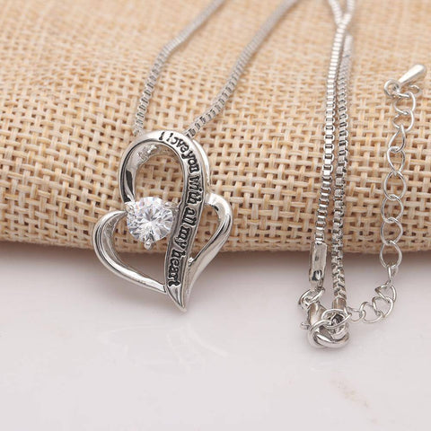 I Love You With All My Heart Swarovski Elements Necklace in 18K White - Bee Bee Shopping USA