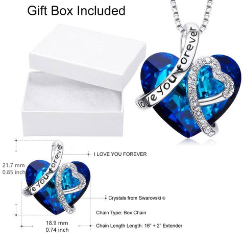 I LOVE YOU FOREVER Blue Swarovski Crystal Heart Necklace - Bee Bee Shopping USA