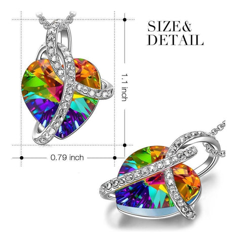 Image of Rainbow Aurora Borealis Swarovski Elements Heart - Bee Bee Shopping USA