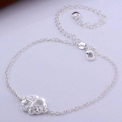 Clover Anklet in 18K White Gold Plated - Bee Bee Shopping USA