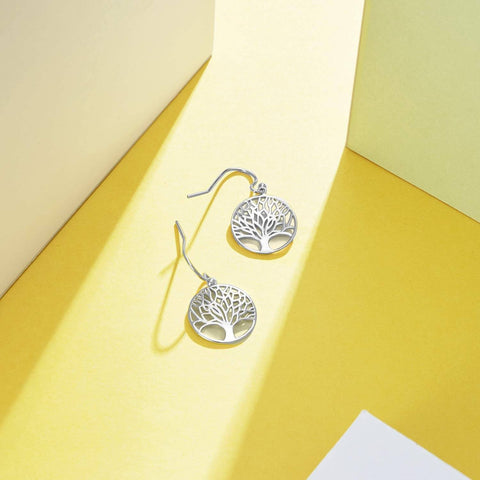 Tree of Life Drop Earring in 18K White Gold Plated - Bee Bee Shopping USA