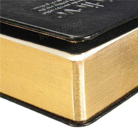 Image of Bible Style Leather Journal Notebook With Gold Leaf Style Pages - Bee Bee Shopping USA