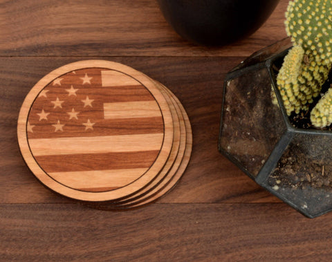 Image of American Flag Coasters - Bee Bee Shopping USA
